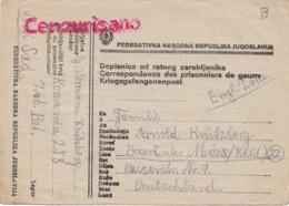 DOPISNICA OD RATMOG ZAROBLJENIKA   26 8 1946   Vers L'Allemagne Zone Anglaise - 1945-1992 Socialist Federal Republic Of Yugoslavia