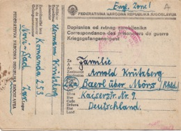 DOPISNICA OD RATMOG ZAROBLJENIKA 14  3  1948  Vers L'Allemagne Zone Anglaise - 1945-1992 République Fédérative Populaire De Yougoslavie