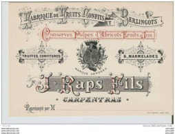 Ancienne Carte De Representant RAPS Fils, Fruits Confits, Berlingots,truffes, Marmelades A CARPENTRAS - Publicités