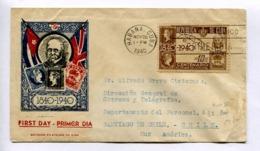 CENTENARIO DEL PRIMER SELLO POSTAL. CUBA 1940 SOBRE ENVELOPE FDC CIRCULEE A CHILE- LILHU - Stamp's Day