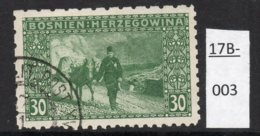 Bosnia Bosnien 1906 30h Mule Donkey Carrying Mail 'Coleman' Perf  6x9x9x6 (Perf: 1221) Used (cto) - Bosnia And Herzegovina