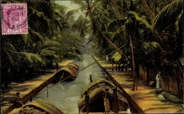 Cp Ceylon Sri Lanka, Negombo Canal, Kanalpartie, Boote, Palmen - Sri Lanka (Ceylon)