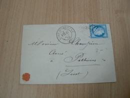 CP 110 / CERES N° 60 SUR LETTRE / CACHET DE GARE - 1871-1875 Cérès