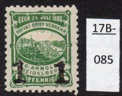 Germany Deutschland Privatpost Local Post Stadtpost :  Heidelberg Mi. A. 53 IIIa MH –smallish Hinge Thin - Private