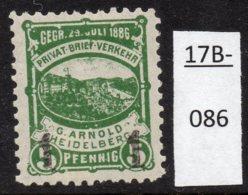 Germany Deutschland Privatpost Local Post Stadtpost :  Heidelberg Mi. A. 53 IIa MH - Private