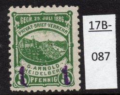 Germany Deutschland Privatpost Local Post Stadtpost :  Heidelberg Mi. A. 53 IIc MH - Private