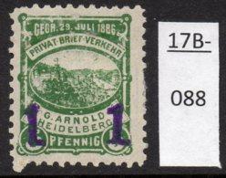 Germany Deutschland Privatpost Local Post Stadtpost : Heidelberg Mi. A. 53 IIIc MH, Very Minor Thin - Private