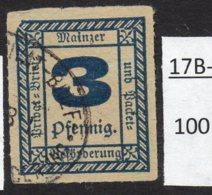 Germany Deutschland Privatpost Local Post Stadtpost :  Mainz Mi. C. 52 Used – Thin At Top. - Private