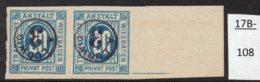 Germany Deutschland Privatpost Local Post Stadtpost :  Wiesbaden Mi. 22B Pair MNH  - See Text. - Private