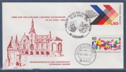 = Jumelage Philatélique Libourne 19-20.4.86 Timbre 1739 Et Schwandorf 15.4.86 Enveloppe 2 Timbres - Poststempel (Briefe)