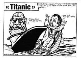 CPM Caricature Satirique Politique J. CHIRAC /  T. BLAIR Paquebot Queen Mary II  Tirage Limité Illustrateur (2 Scans) - Satiriques