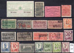 France Colis Postal Railway Parcels Small Collection  (21 Stamps) - Parcel Post