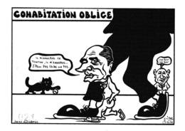 CPM Caricature Satirique Politique J. CHIRAC / MITTERRAND / BARRE Cohabitation Tirage Limité Illustrateur (2 Scans) - Satiriques