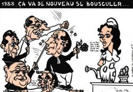 CPM Caricature Satirique Politique J. CHIRAC BARRE MITTERRAND FABIUS MARCHAIS 1988 Tirage Limité Illustrateur 2 Scans - Satiriques