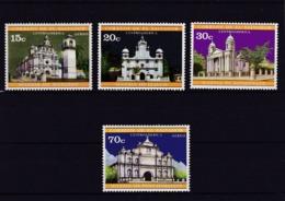 El Salvador 1971.Mi: 1051 + 1052 + Flugpostmarken 1053 + 1054 Kirchen Der Kolonialzeit - Eglises Et Cathédrales