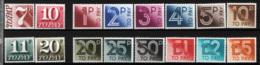 Gran Bretagna 1974/82 Segnatasse Unif.79a/80a, 84/97 **/MNH VF - Tasse