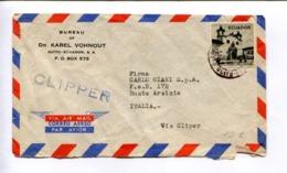 VIA CLIPPER - BURAU OF DR KAREL VOHNOUT, QUITO ECUADOR ENVELOPE AIR MAIL CIRCULEE ITALIE, FIRST FLIGHT - LILHU - Equateur