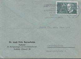 BRD 284 EF, Auf OrtsBrief, Mit Stempel: Krefeld 10.4.1958, Rudolf Diesel 1958 - BRD