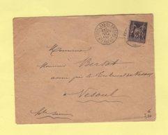 Conflans Sur Laterne - Haute Saone - 20 Fevr 1888 - Double Port Pour Vesoul - Type Sage - Storia Postale