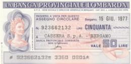 MINIASSEGNO FDS BANCA PROV.LOMBARDA L.50 CASSERA (YA13 - [10] Cheques En Mini-cheques