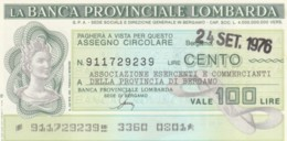 MINIASSEGNO FDS BANCA PROV.LOMBARDA L.100 ASS COMMERCIANTI BERGAMO (YA27 - [10] Cheques En Mini-cheques