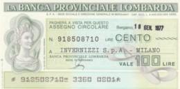 MINIASSEGNO FDS BANCA PROV.LOMBARDA L.100 INVERNIZZI (YA29 - [10] Cheques En Mini-cheques