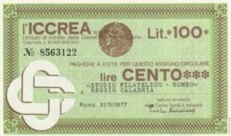 MINIASSEGNO FDS ICCREA L.100 STUDIO FILATELICA ROMEO (YA47 - [10] Cheques En Mini-cheques