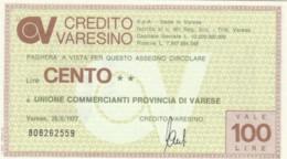 MINIASSEGNO FDS CREDITO VARESINO L.100 UNIONE COMM VARESE (YA660 - [10] Scheck Und Mini-Scheck