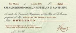 MINIASSEGNO FDS CASSA RISPARMIO REP S.MARINO L.200 AL PORTATORE (YA650 - [10] Scheck Und Mini-Scheck