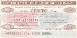 MINIASSEGNO FDS ICBP-BANCA POPOLARE AGRICOLTURA L.100 UNIONE COMMERCIO AGRIGENTO (YA597 - [10] Chèques