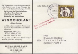 BRD 322 EF, Auf Drucksache Der Fa. Rhein-Chemie, Mit Stempel: Köln 3.11.1959 - BRD