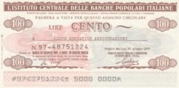 MINIASSEGNO FDS ICBP-BANCA POPOLARE REGGIO EMILIA L.100 LLYOD ADRIATICO (YA526 - [10] Scheck Und Mini-Scheck