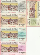 SERIE 5 MINIASSEGNI CASSA RURALE DI MORI (YA870 - [10] Scheck Und Mini-Scheck