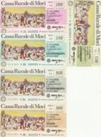 SERIE 5 MINIASSEGNI CASSA RURALE DI MORI (YA872 - [10] Scheck Und Mini-Scheck