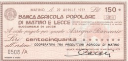 MINIASSEGNO FDS BANCA POPOLARE MATINO LECCE L.150 COOPERATIVA PRODUTTORI AGRICOLI (YA200 - [10] Cheques Y Mini-cheques