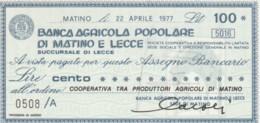 MINIASSEGNO FDS BANCA POPOLARE MATINO LECCE L.100 COOPERATIVA PRODUTTORI AGRICOLI (YA201 - [10] Cheques Y Mini-cheques