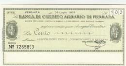 MINIASSEGNO FDS BANCA CREDITO AGRARIO FERRARA L.100 ASS COMM FERRARA (YA253 - [10] Scheck Und Mini-Scheck