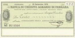 MINIASSEGNO FDS BANCA CREDITO AGRARIO FERRARA L.100 ASS AGRICOLTORI FERRARA (YA256 - [10] Scheck Und Mini-Scheck