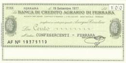 MINIASSEGNO FDS BANCA CREDITO AGRARIO FERRARA L.100 CONFESERCENTI FERRARA (YA268 - [10] Scheck Und Mini-Scheck