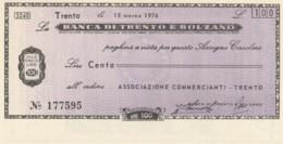 MINIASSEGNO FDS BANCA TRENTO BOLZANO L.100 ASS COMM TRENTO (YA303 - [10] Cheques Y Mini-cheques