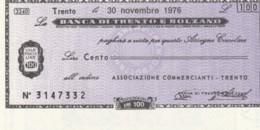 MINIASSEGNO FDS BANCA TRENTO BOLZANO L.100 ASS COMM TRENTO (YA304 - [10] Scheck Und Mini-Scheck