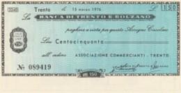 MINIASSEGNO FDS BANCA TRENTO BOLZANO L.150 ASS COMM TRENTO (YA328 - [10] Cheques Y Mini-cheques