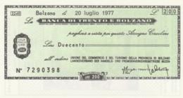 MINIASSEGNO FDS BANCA TRENTO BOLZANO L.200 UNIONE COMMERCIO BOLZANO (YA344 - [10] Cheques Y Mini-cheques