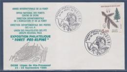 = Année Internationale De La Forêt Pré-Alpine Union Philatélistes Des PTT Digne 23-24.9.85 Enveloppe Timbre 2387 Epicéa - Cachets Commémoratifs