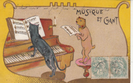 Très Belle Carte- CHATS Jouant Du Piano Et CHAT Chantant-1906-TBE - Katten