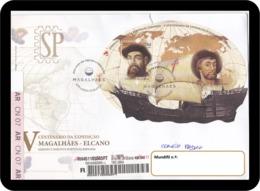 Portugal Espanha 2019 Postmark 500 Anos Expedição Fernão Magalhães Juan Sebastián Elcano Join Issue Espana Parchemin - Explorers