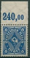 Deutsches Reich 1922/23 Posthorn Plattendruck Oberrand 228 P OR Postfrisch - Deutschland