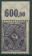 Deutsches Reich 1922/23 Posthorn Plattendruck Oberrand 230 P OR Postfrisch - Deutschland