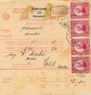 KARLSDORF / JUGOSLAWIEN - 1922 , Paketkarte Nach Split  -  Dispatch: Big Letter = 4,20 EURO - 1945-1992 Socialist Federal Republic Of Yugoslavia
