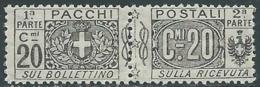 1914-12 REGNO PACCHI POSTALI 20 CENT MNH ** - RB7 - Paketmarken
